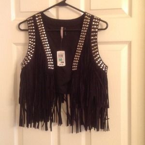 Jackets & Blazers - Black fringed vest with silver studs