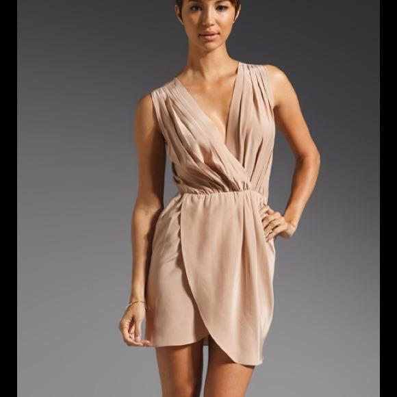 Amanda Uprichard Dresses | New Silk Crystal Dress In Nude M | Poshmark