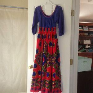 Vintage 70's Hippie Festival Maxi Dress S-M