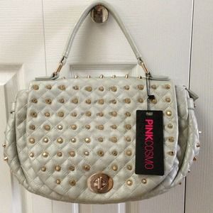 Gold Studded silver bag by Pink Cosmo