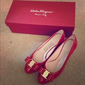 Ferragamo red ribbon heels :) 