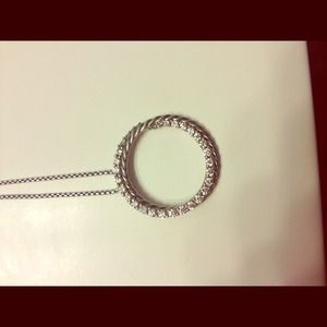 David Yurman pave diamond circle pendant