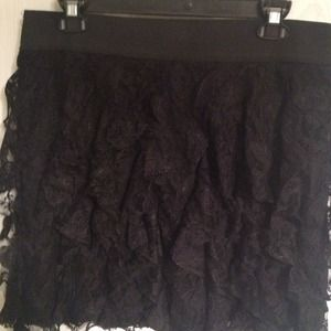 Black lace ruffled skirt