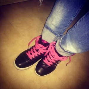 Pink and Black Spike Shoes 🙊FIRM