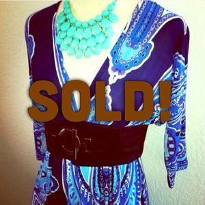 ON HOLD! *NWT* Sz L blue & black V neck dress