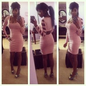 A Beautiful Pink Bandage Cut Out Dress