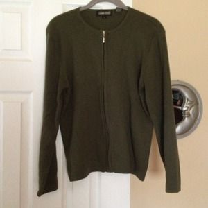 Sweaters - DONATED Olive green zippered cardigan