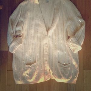 Vintage Sweaters - Vintage Silk and Sequin Oversized Cardigan