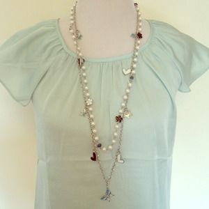 Pearl floral butterflies hearts double necklace