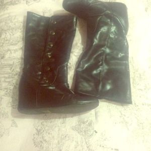 Aldo black hidden wedge boots