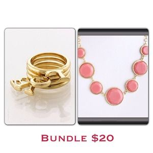 Bundle Love Words ring with Pink Bib necklace