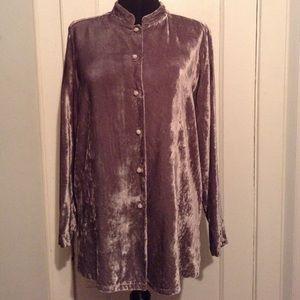 Gap Silvery Gray Velvet Shirt, Side Slits NWT