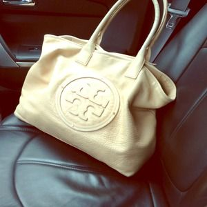 Tory burch tan leather large tote bag