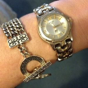 Relic wet series silver gold watch