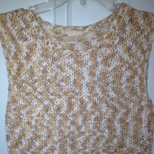 Tops - Cute Knitted Top - Beige and White Tones - Size S