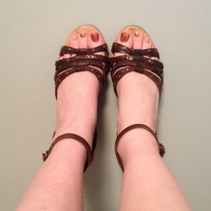 Brown studded strappy wedges