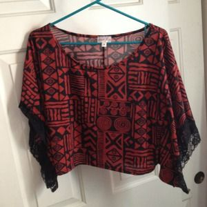 Tribal print crop top with lace sleeves!