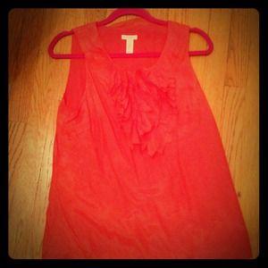Orange/coral silk blend ruffle J Crew tank blouse