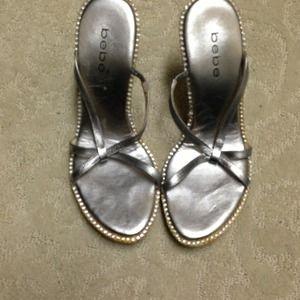 Bebe silver rhinestone heels