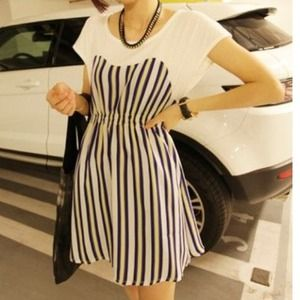 Striped Short Sleeve Mini Dress/Top