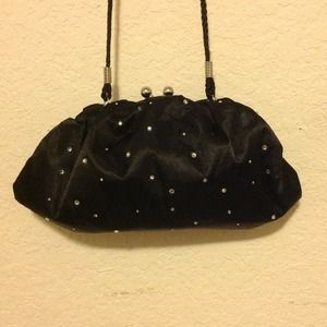 Black Silk Diamond Studded Purse/Clutch
