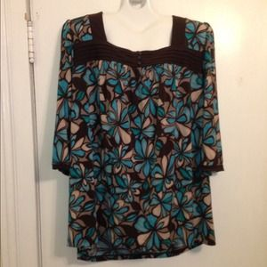 Brown and blue dressy top. Plus size