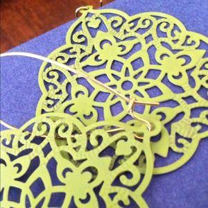 chartreuse metal dangling earrings
