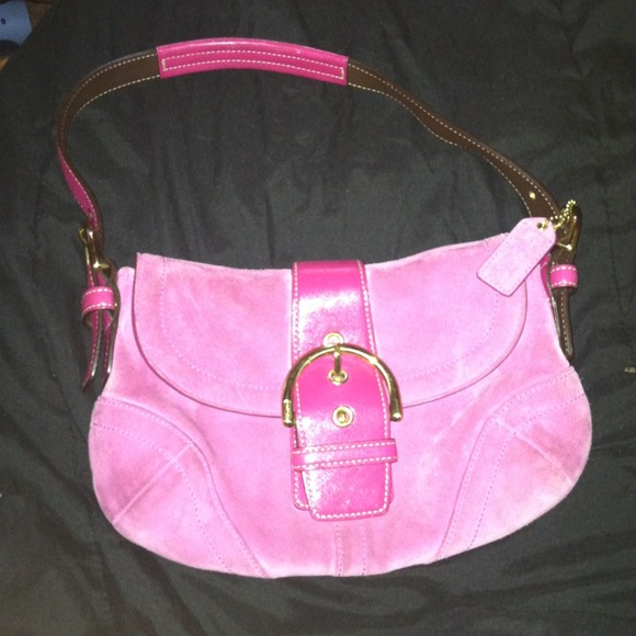 Coach - Hot pink suede coach purse from Honey's closet on Poshmark