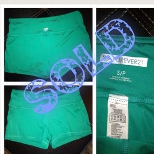 Forever 21 Green athletic work out bootie shorts S