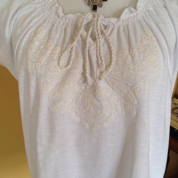 White Cotton Peasant Blouse 76