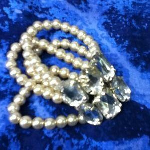 Multi strand pearl and Jem bracelet