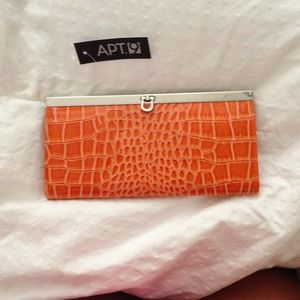 Orange snakeskin wallet clutch