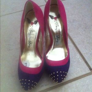 Shoes - Suede purple and pink pumps