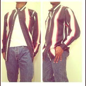 Vertical stripe button down shirt