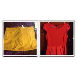 Other - Mustard skirt gap and little red dress