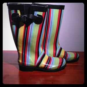 Colorful striped rain boots