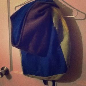 Grey. Blue. Lime Green backpack.