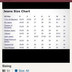7 for all mankind sizes denims chart from poshmark