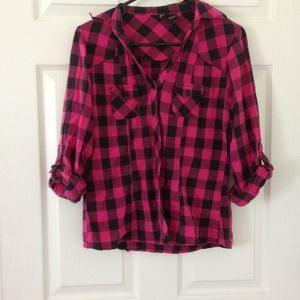 80% off Tops - Hot pink and black plaid shirt from Sedena's closet ...