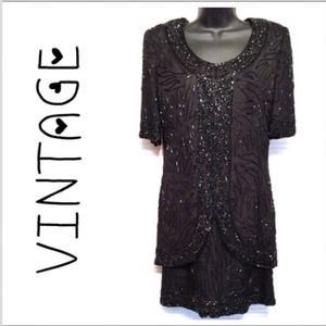 Vintage Black Bead Formal Dress 34 bust prom