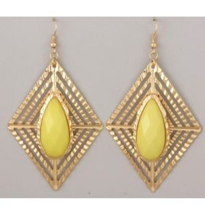 Gold and canary yellow stone earrings