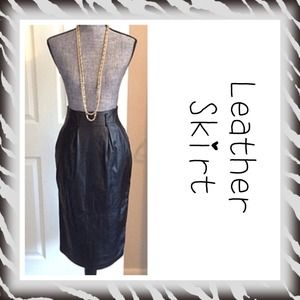 Vintage black leather high waisted pencil skirt 4