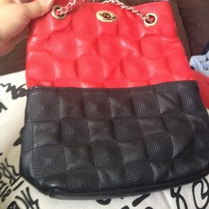 Lang di red and black leather bag