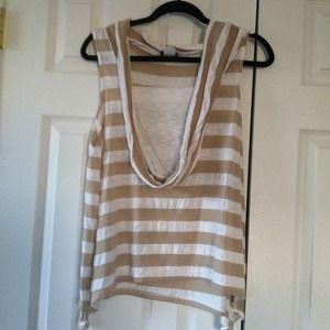 Tops - White tan strip sleeveless shirt