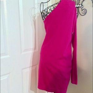 Dresses & Skirts - HOT PINK ONE SHOULDER SWEATER DRESS