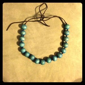 ✨wooden turquoise chunky bead necklace