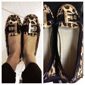 Adrienne Vittadini leopard pony hair loafers