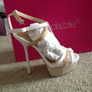 Brown and white heels from Shoedazzle