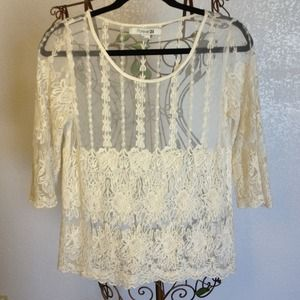 X HOLD X Beautiful, cream crochet top