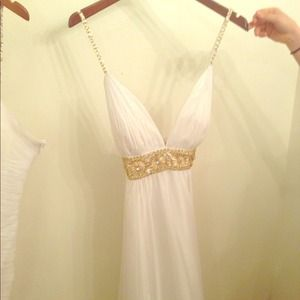 Beautiful white silk dress with gold beading